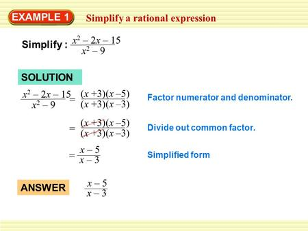Simplify a rational expression