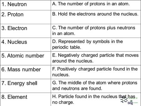 1. Neutron A. The number of protons in an atom. 2. Proton B. Hold the electrons around the nucleus. 3. Electron C. The number of protons plus neutrons.