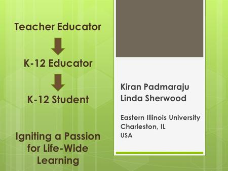 Teacher <strong>Educator</strong> K-12 <strong>Educator</strong> K-12 Student Igniting a Passion for Life-Wide Learning Kiran Padmaraju Linda Sherwood Eastern Illinois University Charleston,