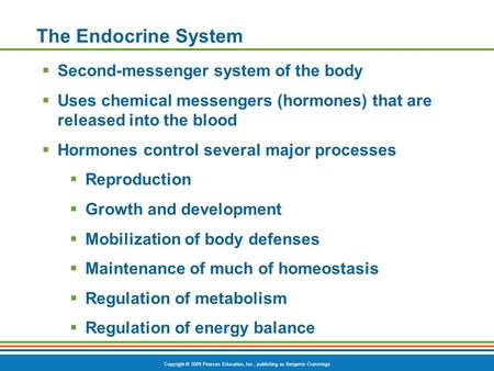 Copyright © 2009 Pearson Education, Inc., publishing as Benjamin Cummings The Endocrine System  Second-messenger system of the body  Uses chemical messengers.