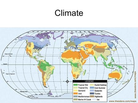 Climate. Weather v Climate Weather Climate Conditions in the atmosphere of one place over a short period of time. Weather patterns that an area experiences.