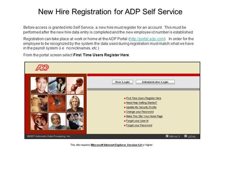New Hire Registration for ADP Self Service