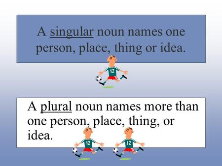 A singular noun names one person, place, thing or idea. A plural noun names more than one person, place, thing, or idea.