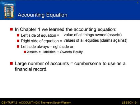 CENTURY 21 ACCOUNTING © Thomson/South-Western Accounting Equation 1 LESSON 2-1 value of all things owned (assets) values of all equities (claims against)