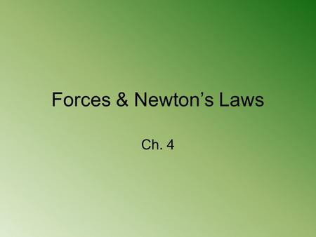 Forces & Newton's Laws Ch. 4. Forces What is a force? –Push or pull one body exerts on another –Units = Newton (N) –Examples: List all of the forces that.