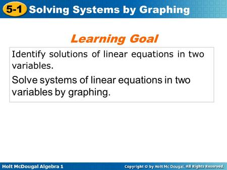 Learning Goal Identify solutions of linear equations in two variables.