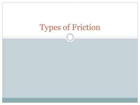 Types of Friction.