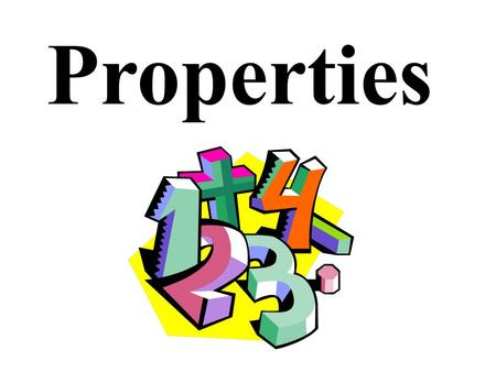 Properties 1. Commutative Property Commutative Property of Addition and Multiplication- -changing the order in which you add does not change the sum.