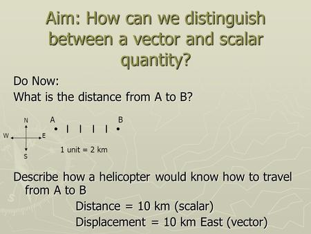 Aim: How can we distinguish between a vector and scalar quantity? Do Now: What is the distance from A to B? Describe how a helicopter would know how to.