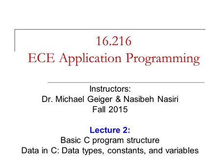 ECE Application Programming - ppt download