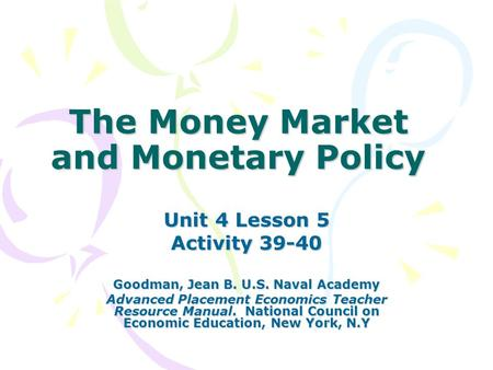 Money Monetary Policy And Economic Stability Ppt Video