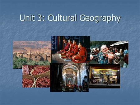 Unit 3: Cultural Geography. Cultural geography is the study of the impact of human culture on the landscape. This includes aspects such as population,