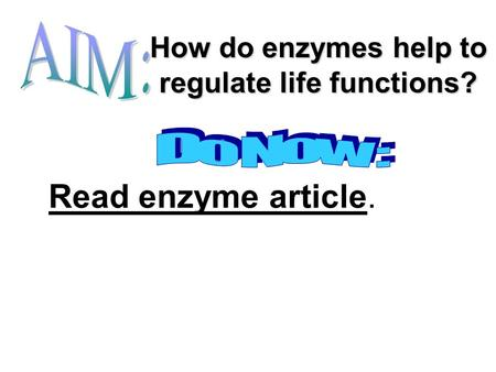 How do enzymes help to regulate life functions? Read enzyme article.