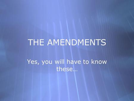 THE AMENDMENTS Yes, you will have to know these….