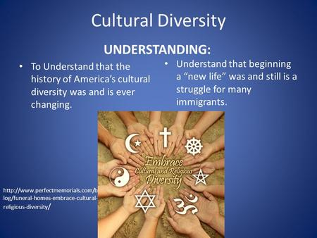 Cultural Diversity UNDERSTANDING: To Understand that the history of America's cultural diversity was and is ever changing. Understand that beginning a.