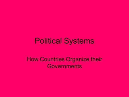 Political Systems How Countries Organize their Governments.