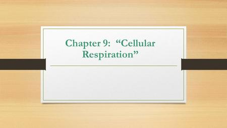 "Chapter 9: ""Cellular Respiration"""