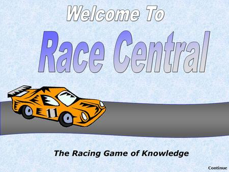 The Racing Game of Knowledge Continue. Authored by Jeff Ertzberger - 2004 University of North Carolina at Wilmington All rights reserved. All Clipart.