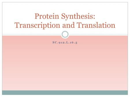 SC.912.L.16.5 Protein Synthesis: Transcription and Translation.