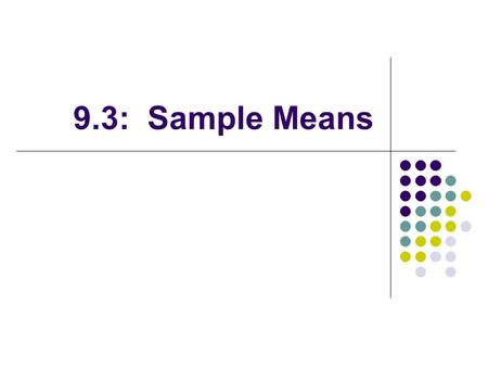 9.3: Sample Means.
