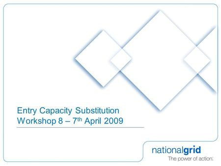 Entry Capacity Substitution Workshop 8 – 7 th April 2009.