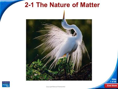 End Show Slide 1 of 40 Copyright Pearson Prentice Hall 2-1 The Nature of Matter.