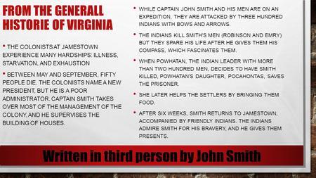 john smith generall historie of virginia summary