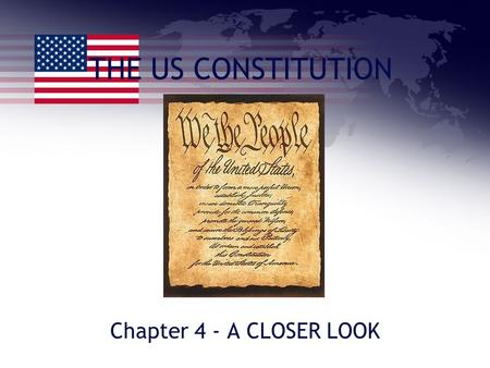THE US CONSTITUTION Chapter 4 - A CLOSER LOOK. THE CONSTITUTION 1.Based on six principles: a. The rule by the people – democracy! b. Limited powers –