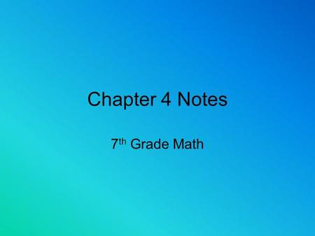 Chapter 4 Notes 7 th Grade Math Adding and Subtracting Fractions10/30 2. Find a common denominator 3. Add or subtract the numerators Steps 4. Keep the.