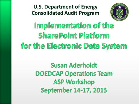 U.S. Department of Energy Consolidated Audit Program 1.