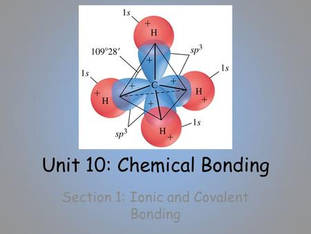 Unit 10: Chemical Bonding Section 1: Ionic and Covalent Bonding.