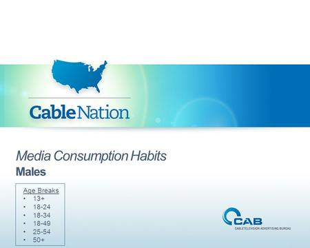 Media Consumption Habits Males Age Breaks 13+ 18-24 18-34 18-49 25-54 50+