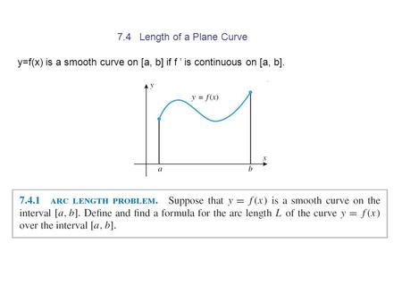 7.4 Length of a Plane Curve y=f(x) is a smooth curve on [a, b] if f ' is continuous on [a, b].