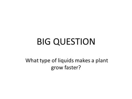 BIG QUESTION What type of liquids makes a plant grow faster?