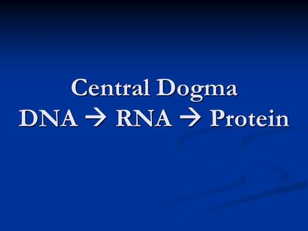 Central Dogma DNA  RNA  Protein. …..Which leads to  Traits.