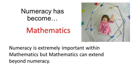 Numeracy has become… Mathematics Numeracy is extremely important within Mathematics but Mathematics can extend beyond numeracy.