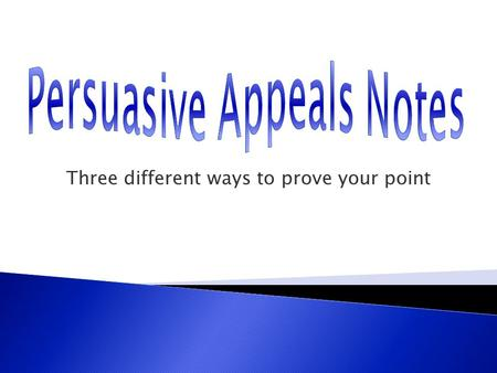 Three different ways to prove your point. Logical Appeals (logos)- convincing reasons and the logical evidence that supports those reasons  Facts  Statistics.