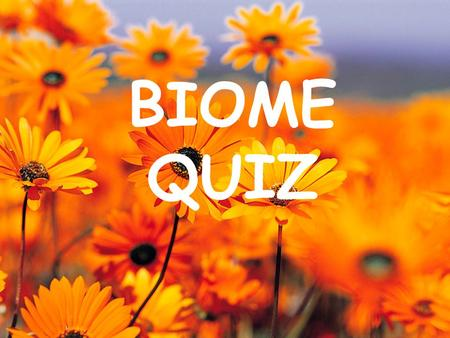 BIOME QUIZ. Question 1 An area with distinct abiotic factors and certain types of plants and animals is called a ______________.