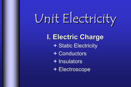 Unit Electricity I. Electric Charge  Static Electricity  Conductors  Insulators  Electroscope.