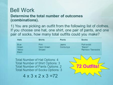 Bell Work Determine the total number of outcomes (combinations). 1) You are picking an outfit from the following list of clothes. If you choose one hat,