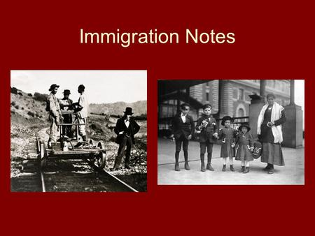 Immigration Notes. Immigration Review Why did immigrants come to the U.S.? –Push Factors: Religious persecution, political persecution, famine, overpopulation.