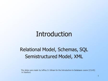 1 CS145 Introduction About CS145 Relational Model, Schemas