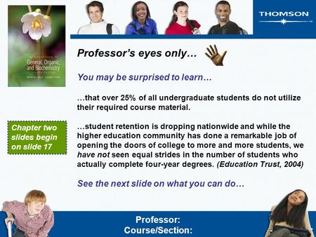 Professor's eyes only… You may be surprised to learn… …that over 25% of all undergraduate students do not utilize their required course material. …student.