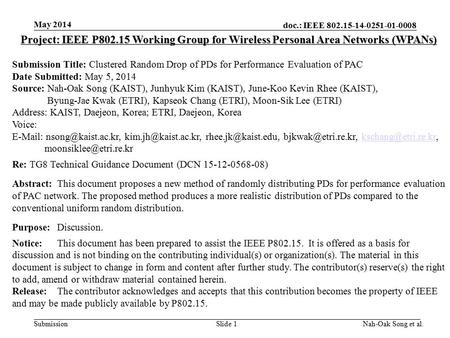 Doc.: IEEE 802.15-14-0251-01-0008 Submission May 2014 Nah-Oak Song et al.Slide 1 Project: IEEE P802.15 Working Group for Wireless Personal Area Networks.