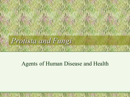 Protista and Fungi Agents of Human Disease and Health.