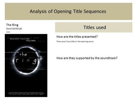 Analysis of Opening Title Sequences The Ring Gore Verbinski 2002 Titles used How are the titles presented? There aren't any titles in the opening scene.