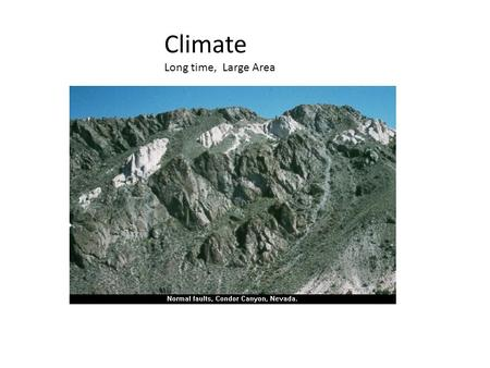 Climate Long time, Large Area. Weather short term, small area.