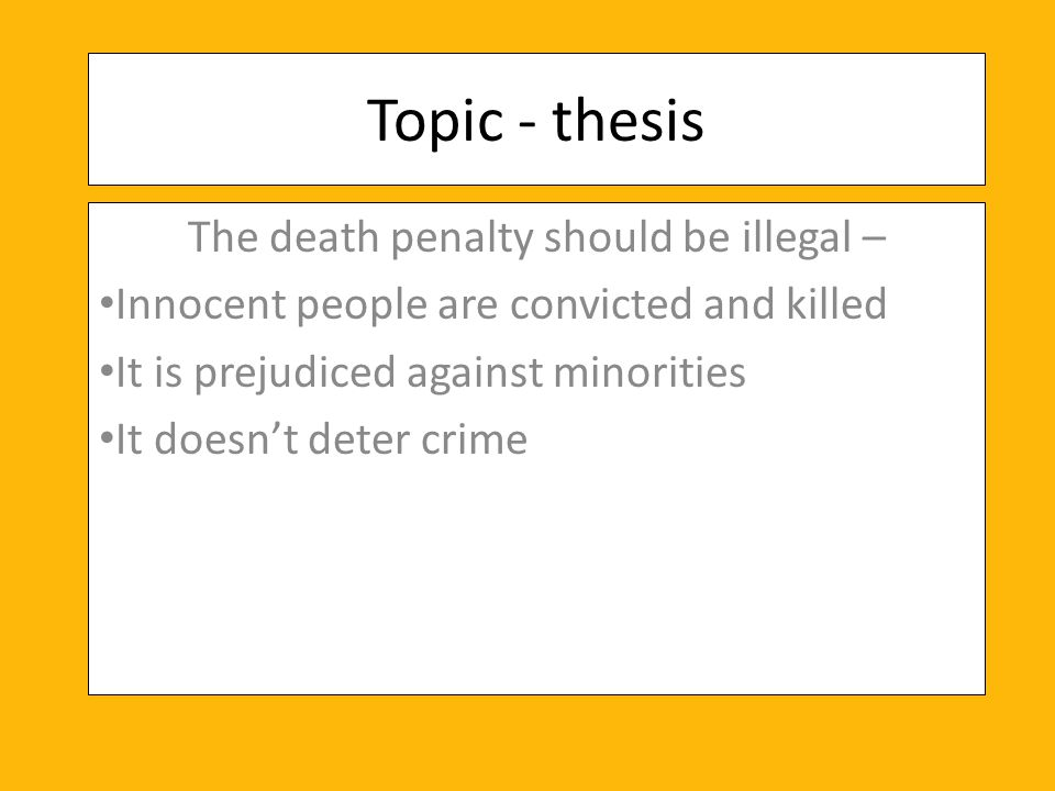 Death penalty thesis topics compare and contrast essay science topics