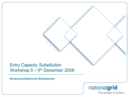 Entry Capacity Substitution Workshop 5 – 5 th December 2008 Review and Options for Development.