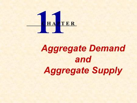Aggregate Demand and Aggregate Supply 11 C H A P T E R.
